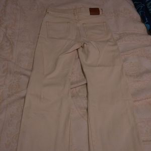Zara denim cream cropped ankle flare jeans